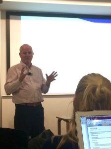 "Donovan during his ""Keys To Success"" talk at UCL."
